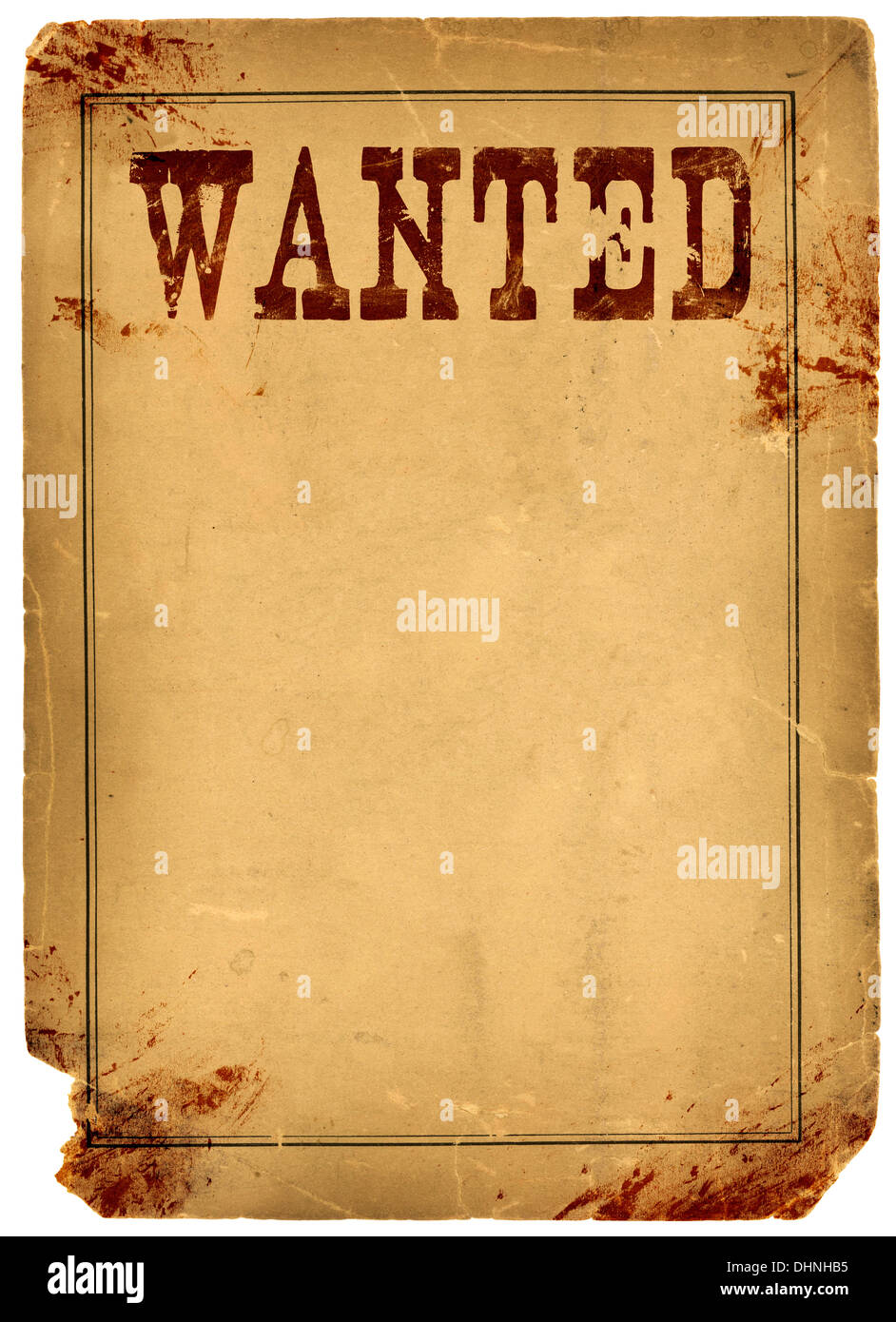 bloody stained old western wanted poster made from real