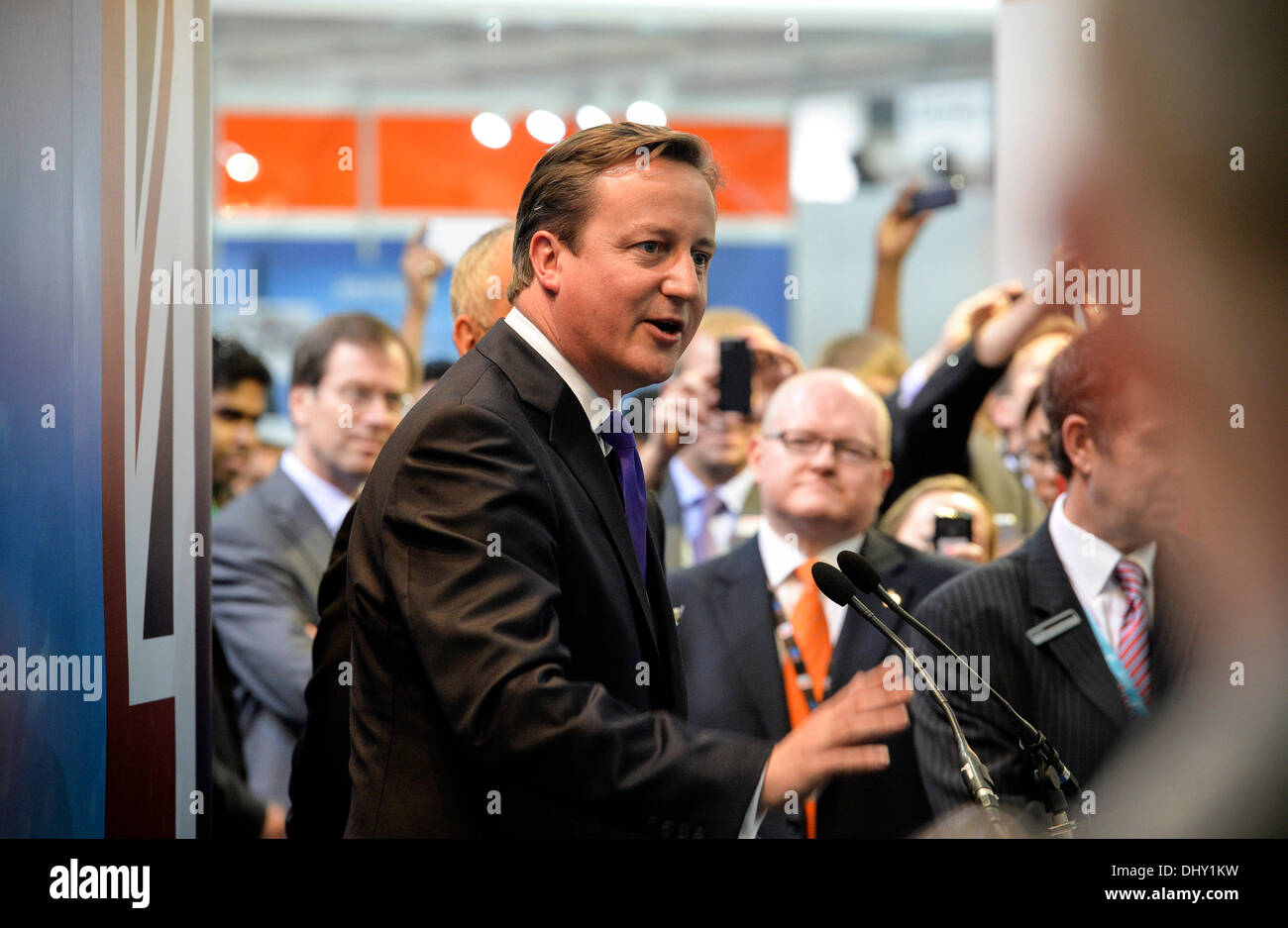Dubai, UAE. 16th November 2013. British Prime Minister David Cameron jetted into the UAE on the eve of the Dubai Stock Photo