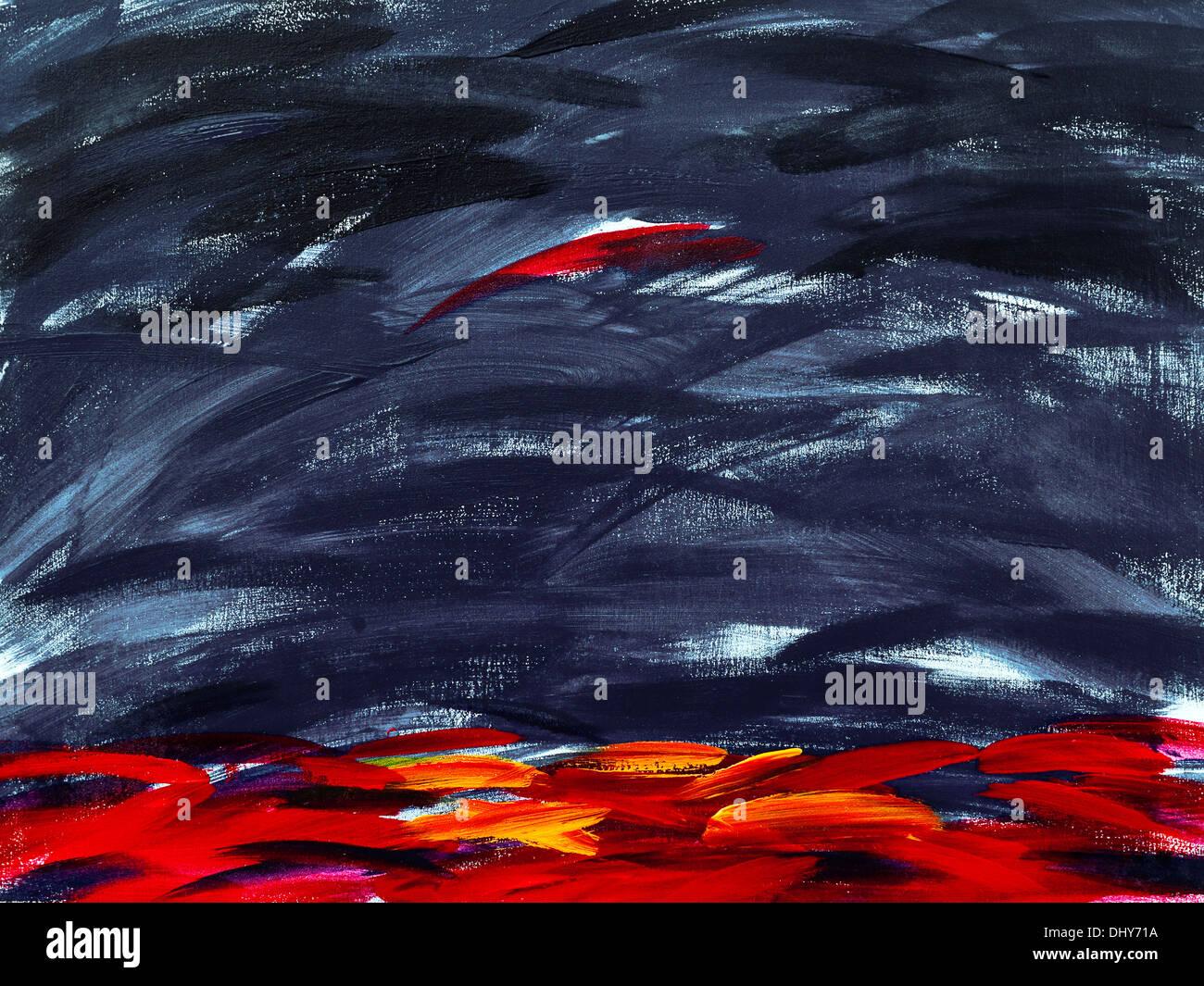 Modern abstract acrylic painting on canvas, by Ed Buziak. Stock Photo