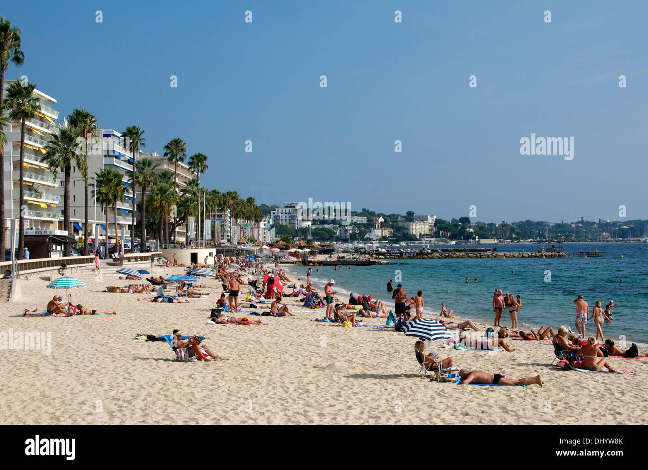 People sunbaking on Juan les Pins beach Cote d'Azure ...