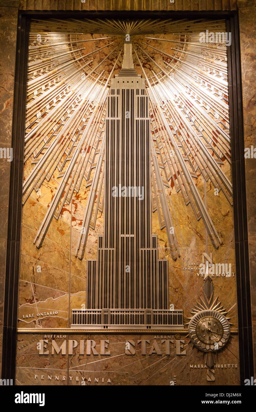 empire state building mural in the foyer manhattan new
