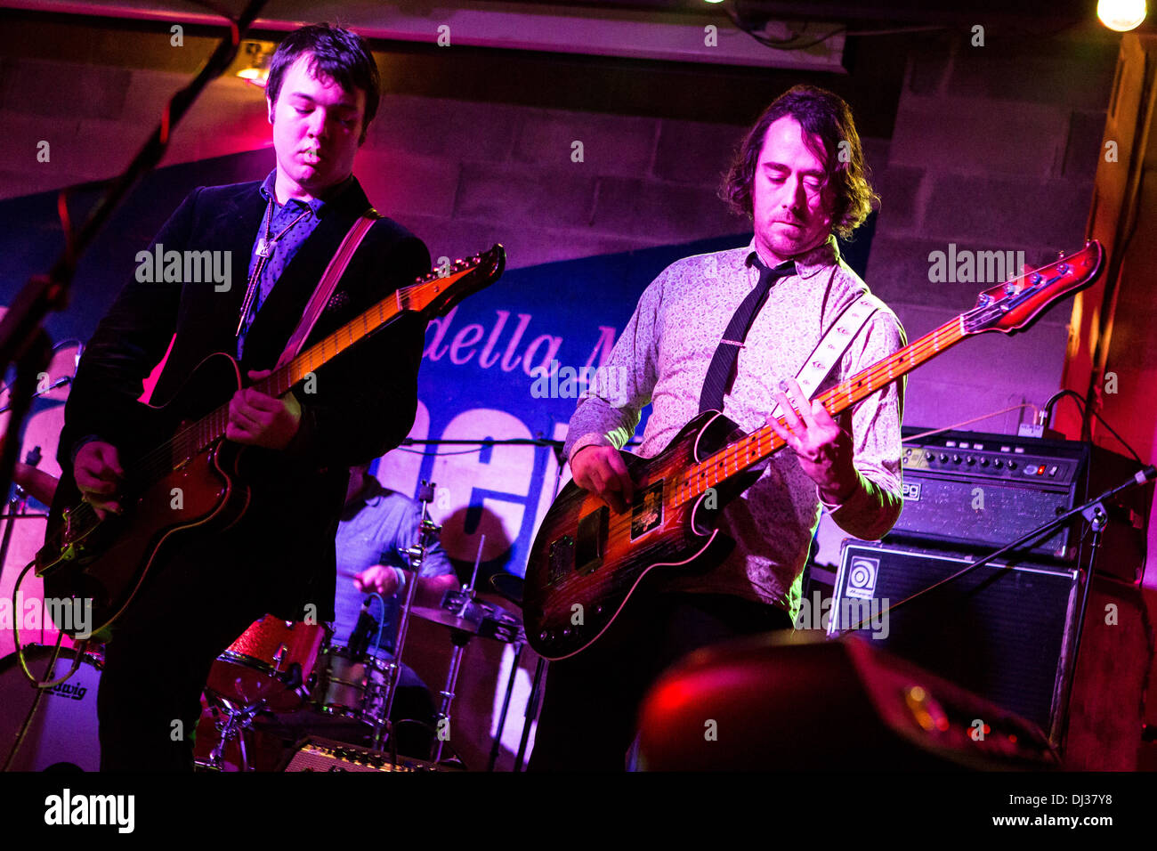 Milan Italy. 19th November 2013. The American indie-rock band CAVEMAN performs live at the Salumeria Della Musica Stock Photo