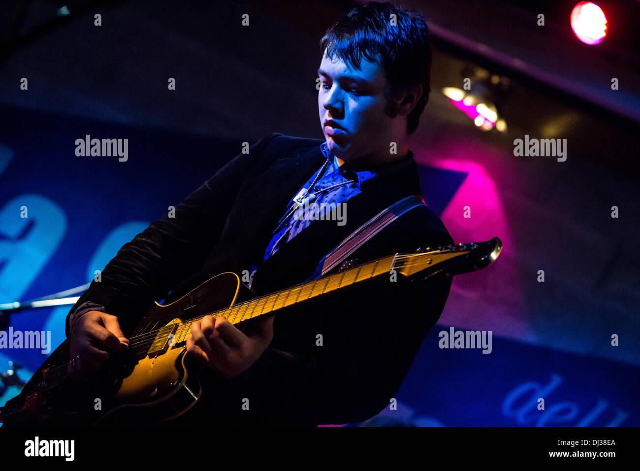 Milan Italy. 19th November 2013. The American indie-rock band CAVEMAN performs live at the Salumeria Della Musica Stock Photo