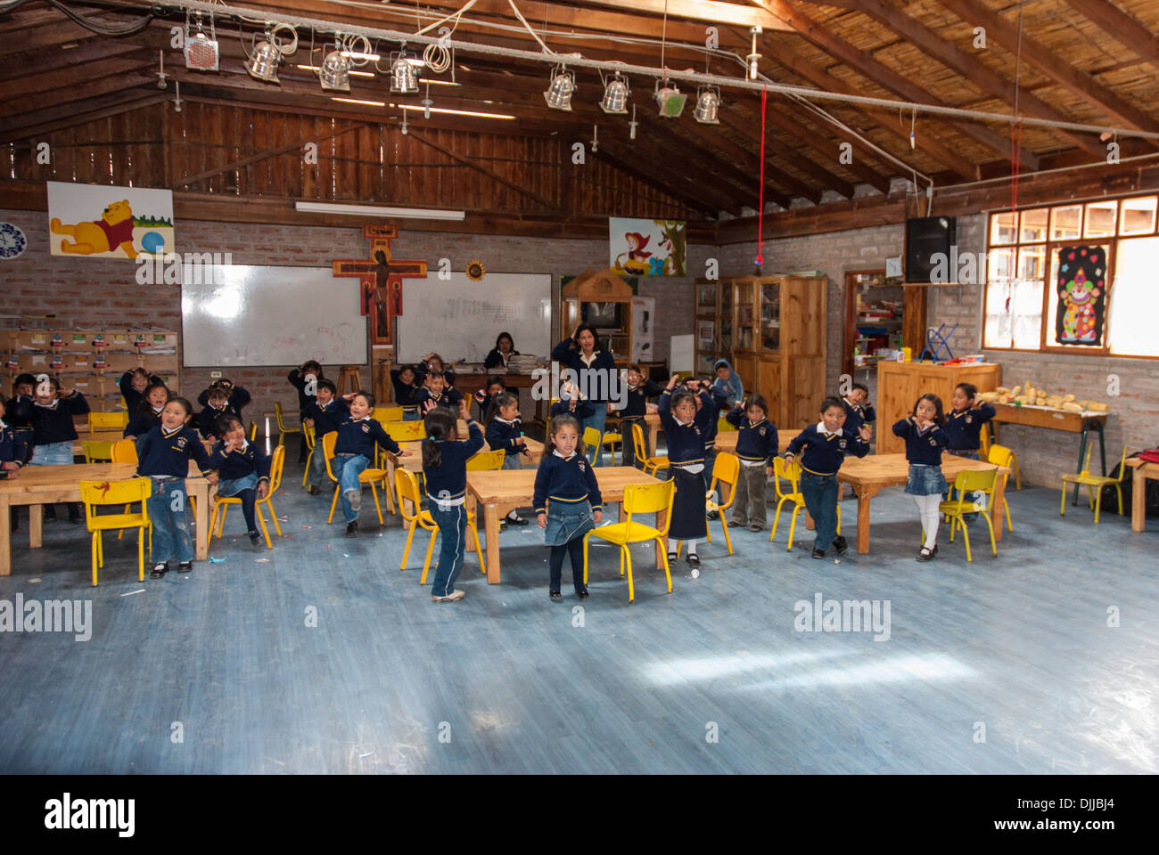 Ecuadorian Children at the Inti Sisa school in Guamote Stock Photo