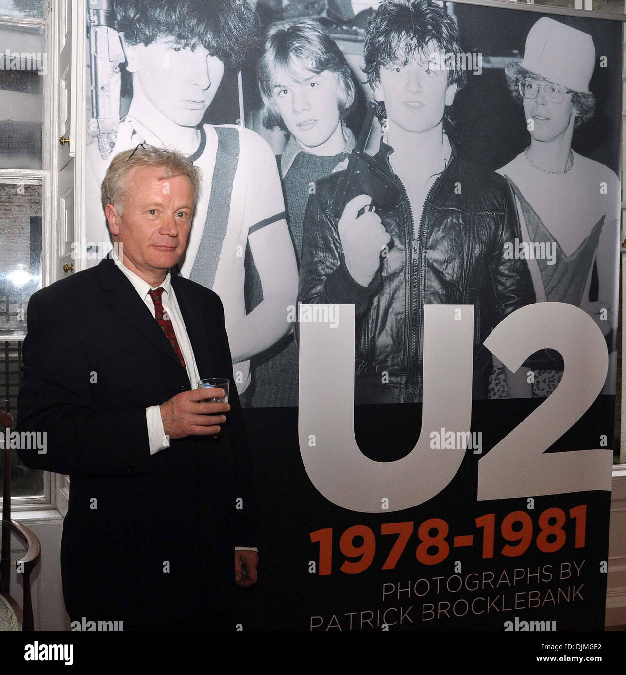 Patrick Brocklebank U2 Manager Paul McGuinness officially opened photography exhibition U2:1978-81 at Little Museum Stock Photo