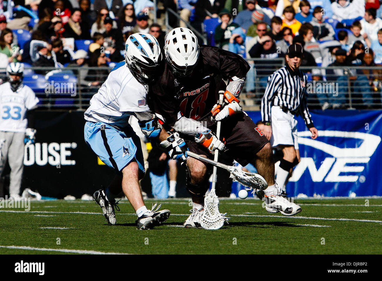Mar. 06, 2010 - Baltimore, Maryland, U.S - 06 March 2010: Hopkins Midfield Matt Dolente #4 and Princeton Midfield Stock Photo