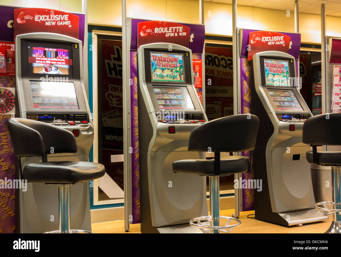 Fixed odds betting terminals in Ladbrokes Betting office. England. UK Stock Photo