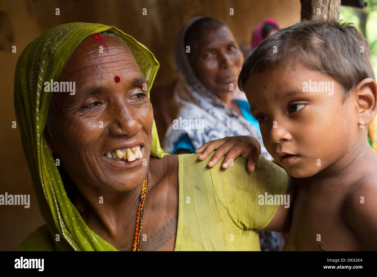 Grandmother with her grandson in Bihar State, India. Stock Photo
