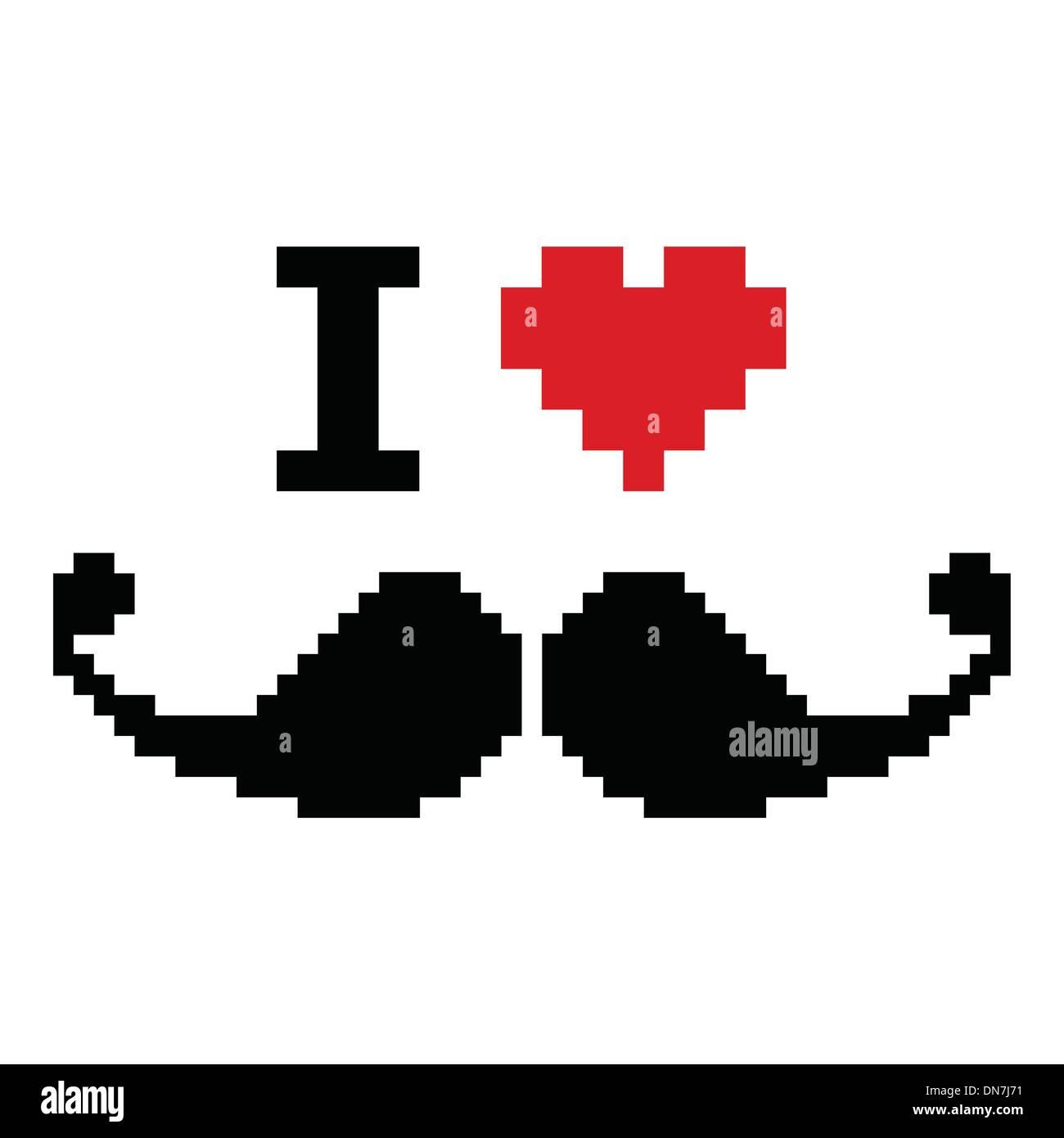 I love mustache pixelated, retro geeky sign Stock-Vektorgrafik