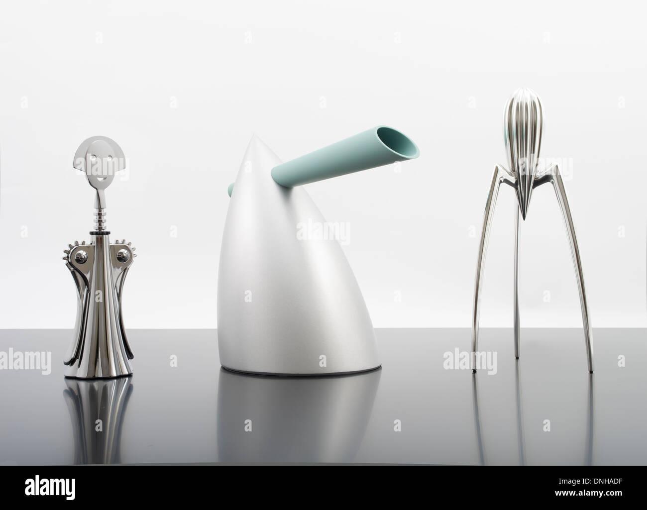 anna g corkscrew hot bertaa water kettle alessi juicy salif stock photo royalty free image. Black Bedroom Furniture Sets. Home Design Ideas