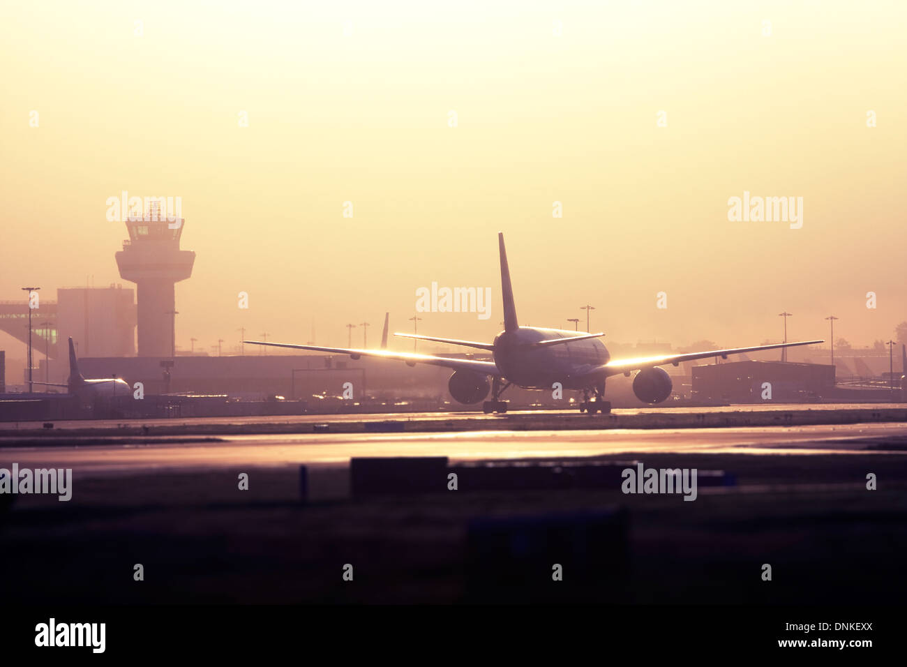 Commercial airliner taxiing at London Gatwick Airport, UK Stock Photo