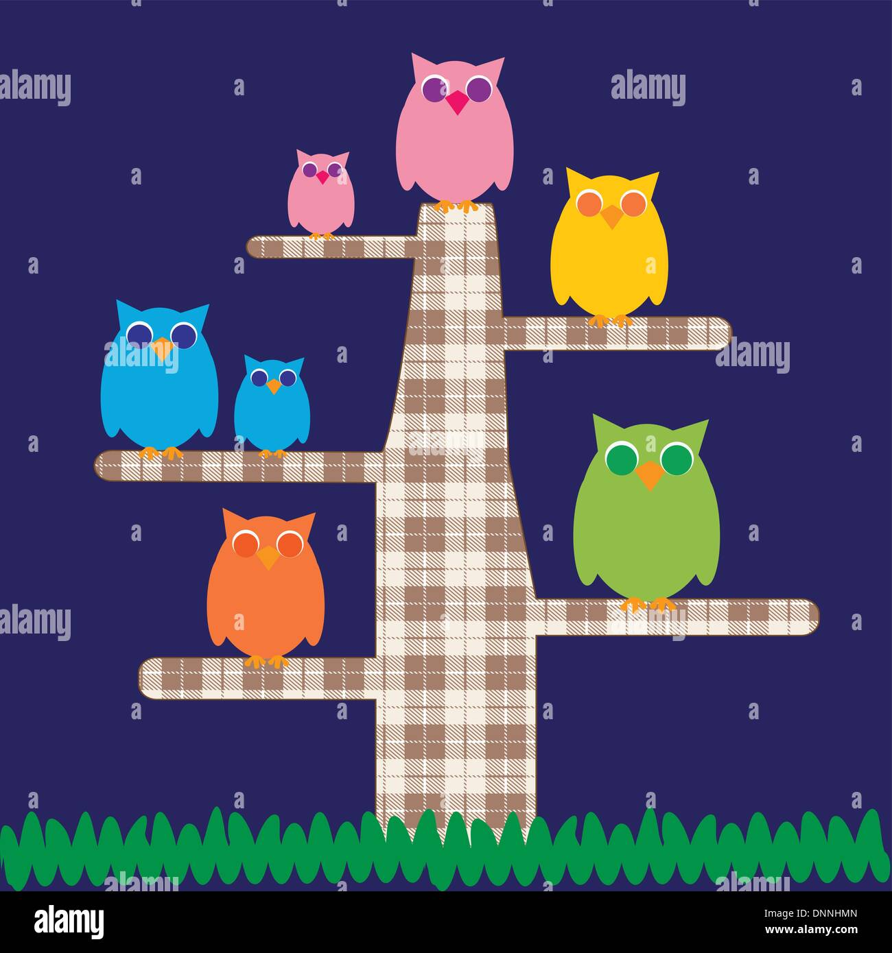 Cute kids cartoon with tree and owns Stock-Vektorgrafik