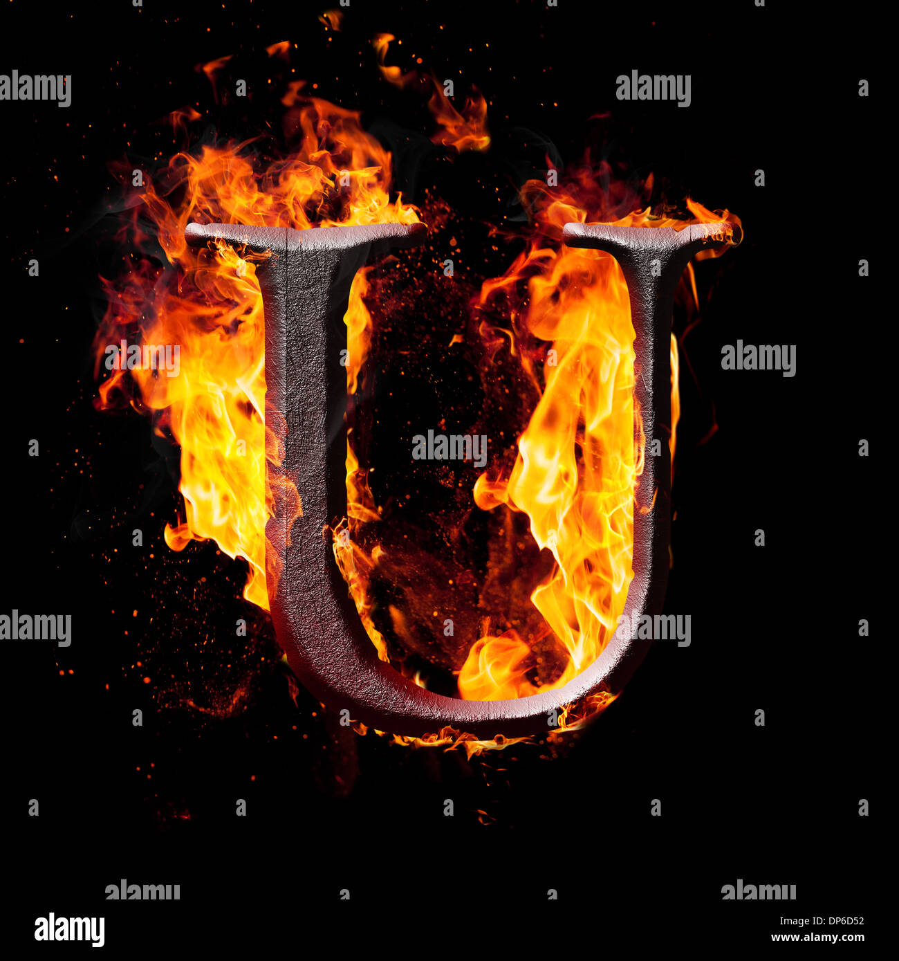 Decorative Fire Extinguisher Letters And Symbols In Fire U Stock Photo Royalty Free