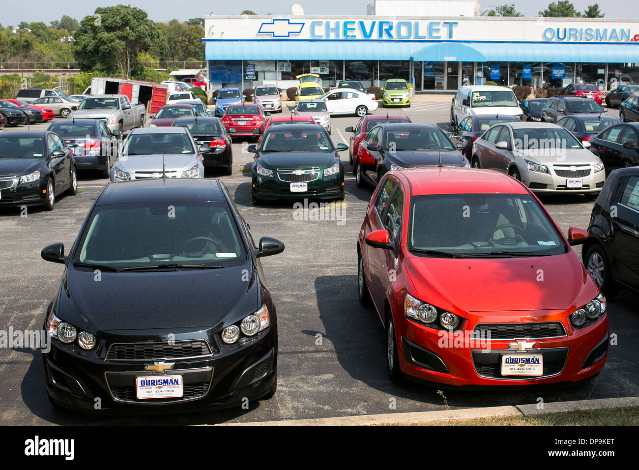 A Chevrolet, Chevy, dealer lot in suburban Maryland Stock ...