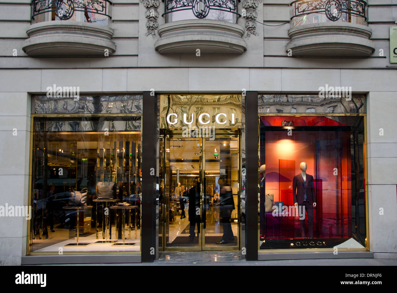 facade of a italian fashion gucci store shop in paris france stock photo royalty free image. Black Bedroom Furniture Sets. Home Design Ideas
