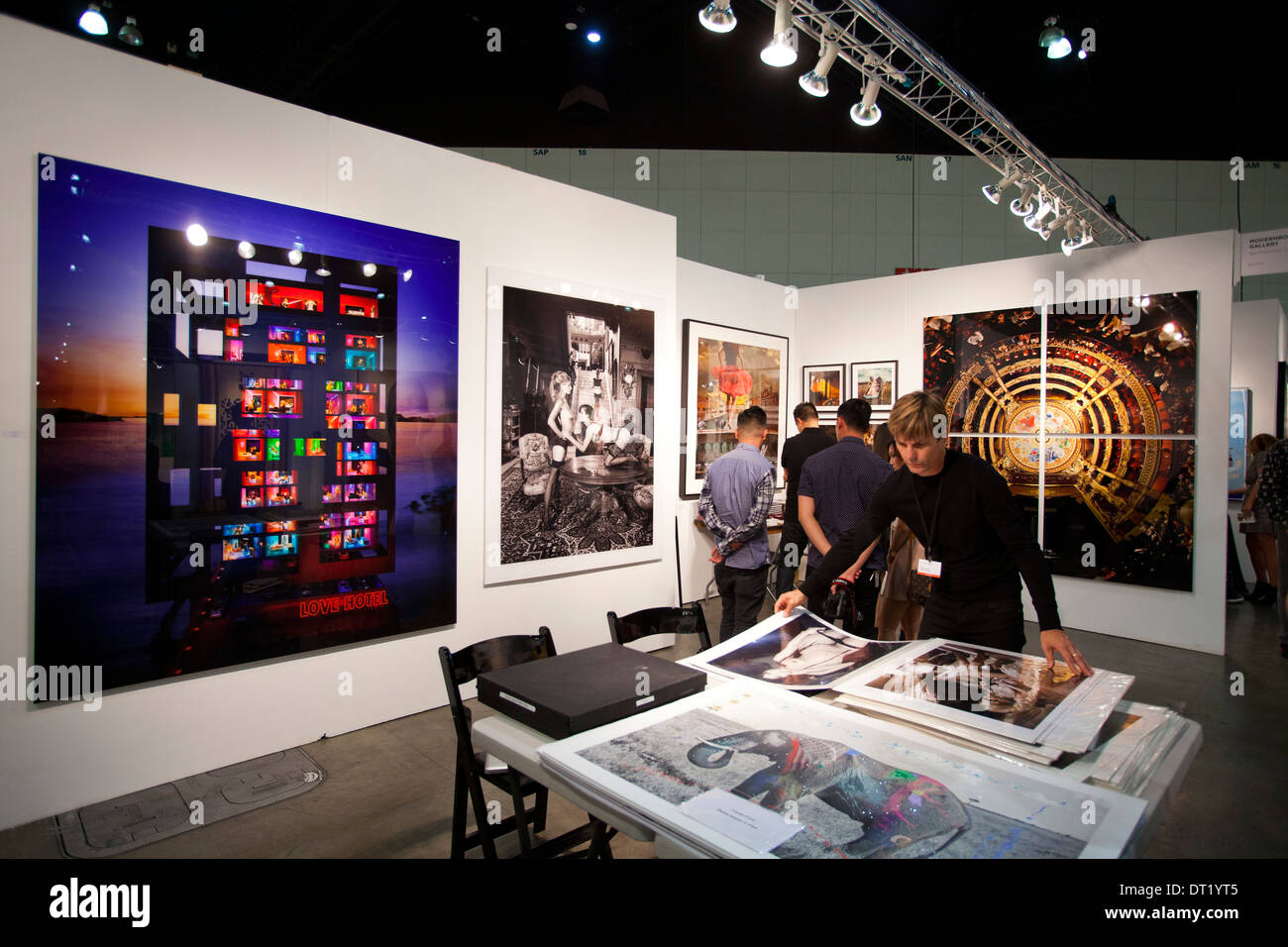 Stock Photo - Vendor in his booth, Los Angeles Art Show 2014, Los Angeles, California, United States of America