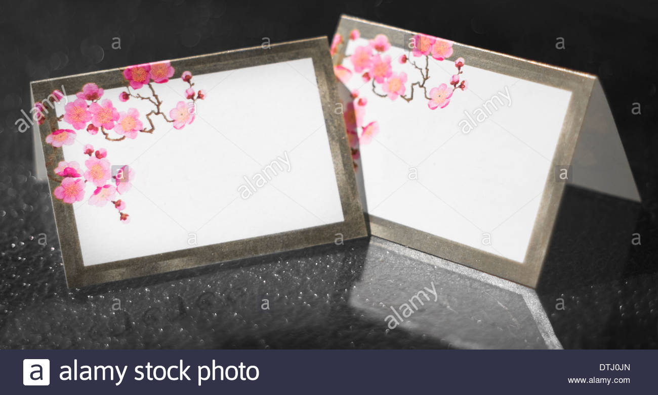 Blank wedding reception table place cards for seating for Table place cards
