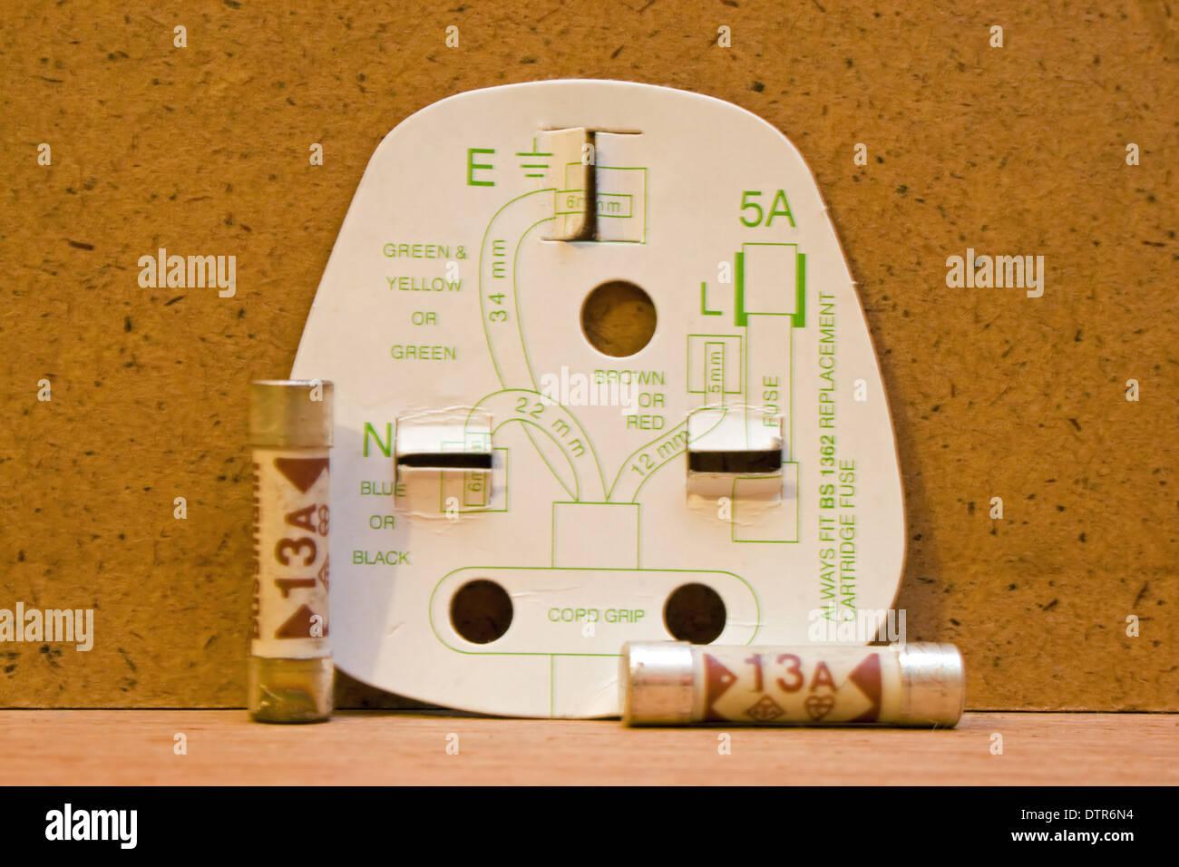 Uk Three Pin Plug Wiring Diagram With 13amp Fuses Stock