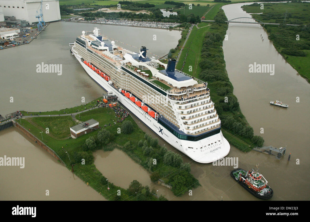 cruise ship celebrity silhouette leaves the shipyard in papenburg stock photo royalty free