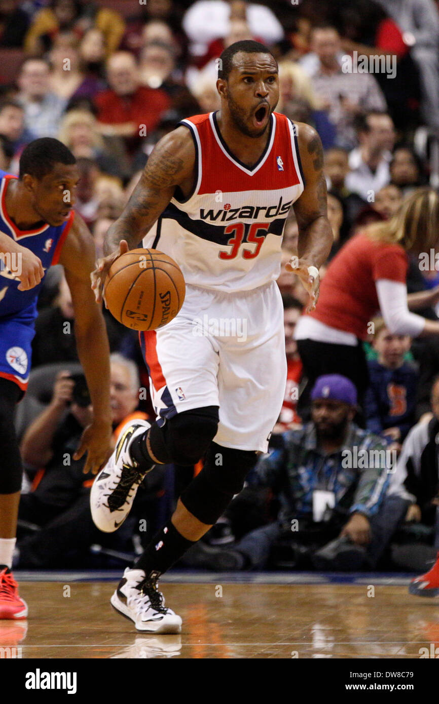 March 1, 2014: Washington Wizards power forward Trevor Booker (35) reacts to the call during the NBA game between Stock Photo