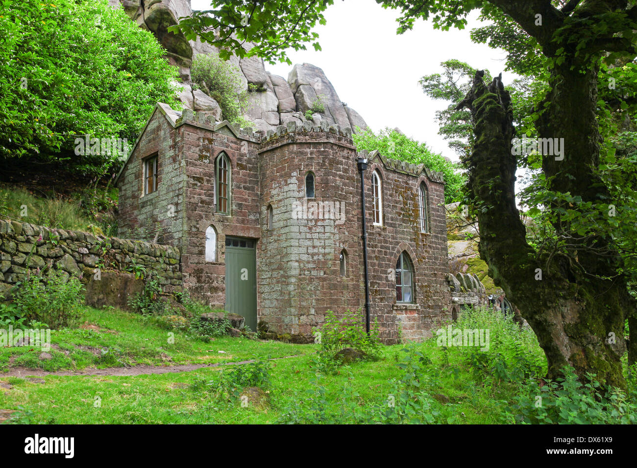 Rockhall Cottage or the Don Whillans memorial hut at The Roaches Staffordshire Peak District Stock Photo