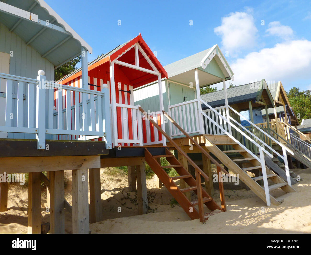 Colourful beach huts at Wells next the Sea, Norfolk, England. Stock Photo