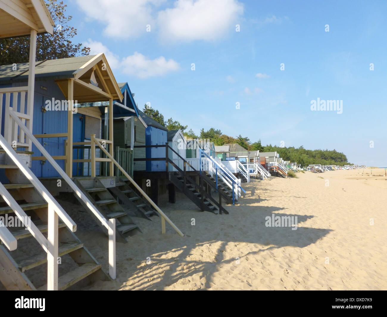 Beach huts at Wells next the Sea, Norfolk, England Stock Photo