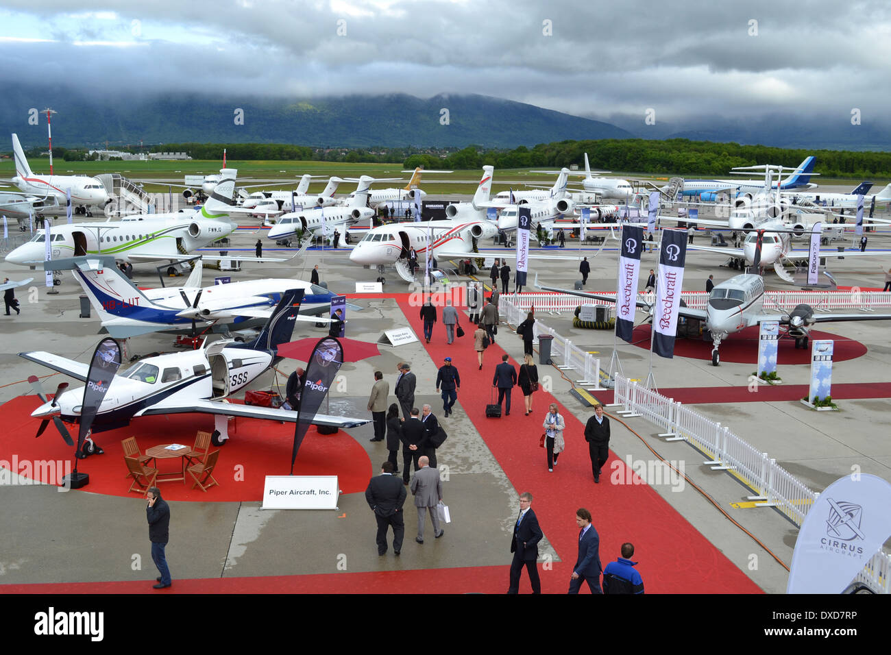 Aircraft at the 2013 Ebace exhibition at Geneva International Airport, Switzerland. Stock Photo