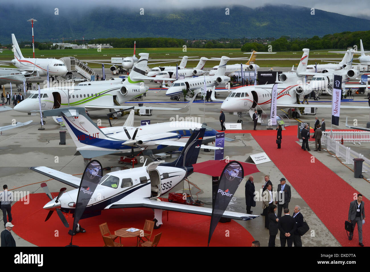 Aircraft on the static park at the 2013 Ebace Expo in Geneva, Switzerland. Stock Photo