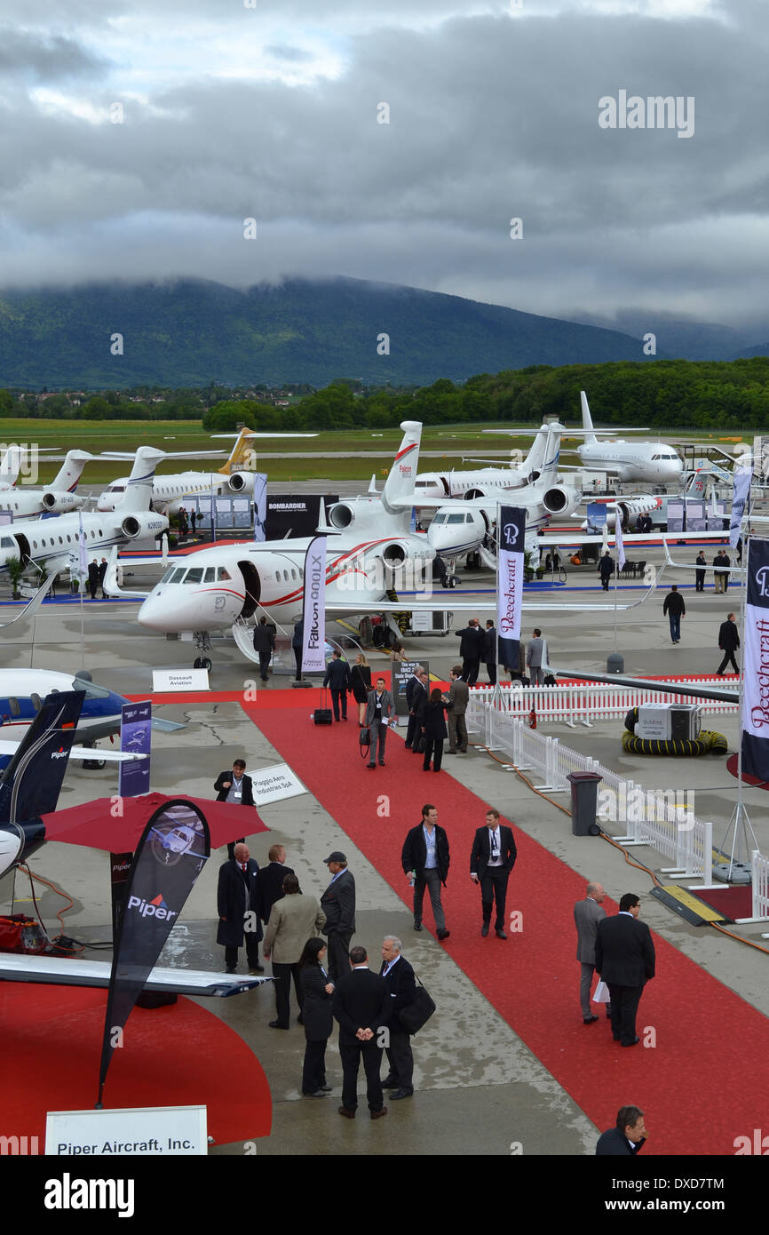 Business aircraft at the 2013 EBACE exhibition, located at the  Palexpo and Geneva International Airport. Stock Photo