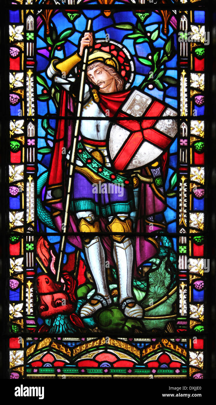 Stained Glass Window Depicting Saint George Killing The ...