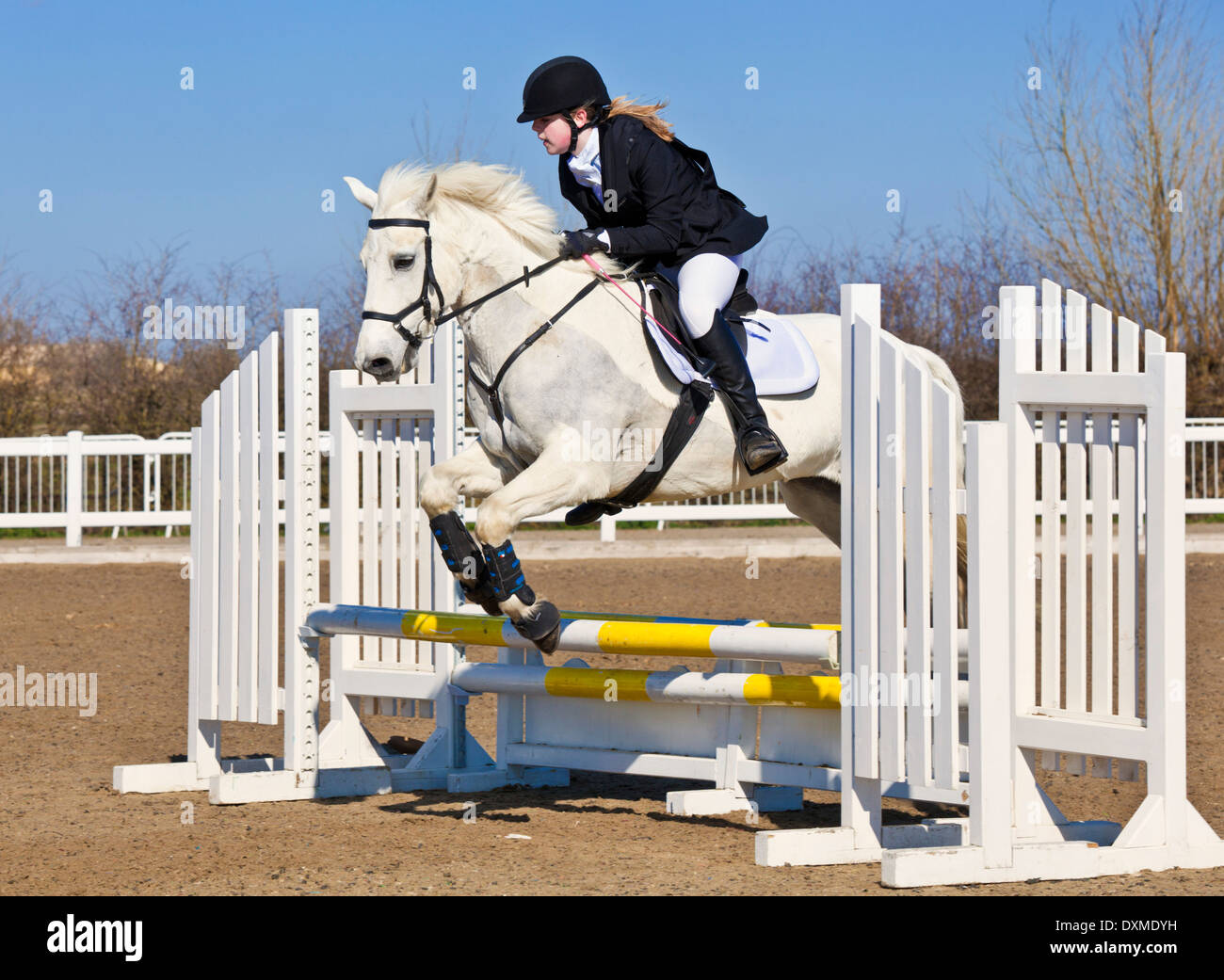 Young girl jumping a white horse pony over a jump at a ...