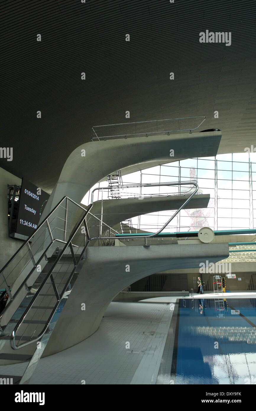 Diving boards at the aquatics centre in the queen - Queen elizabeth olympic park swimming pool ...