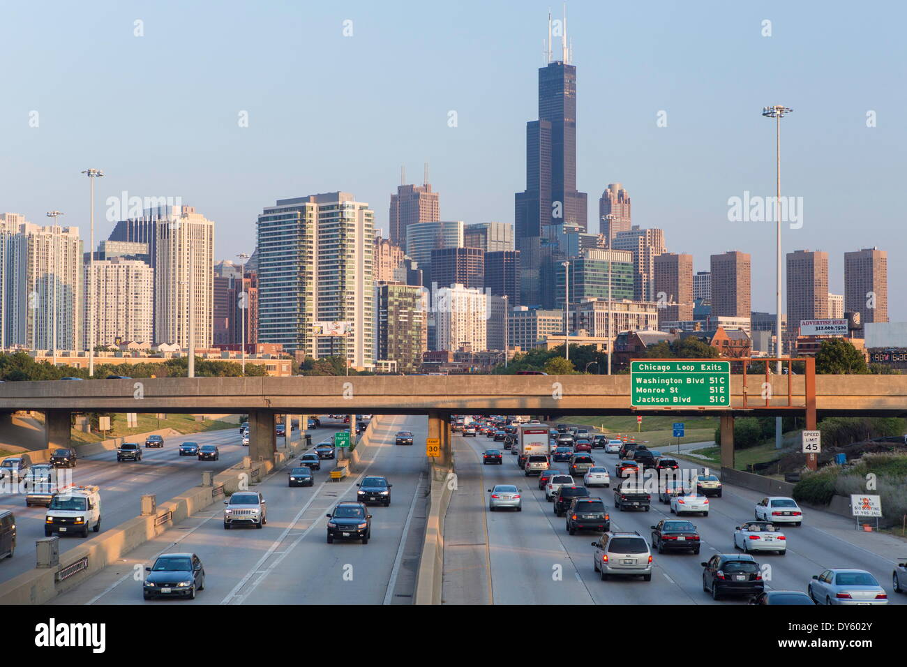interstate leading downtown chicago illinois united states of stock photo 68358611 alamy. Black Bedroom Furniture Sets. Home Design Ideas
