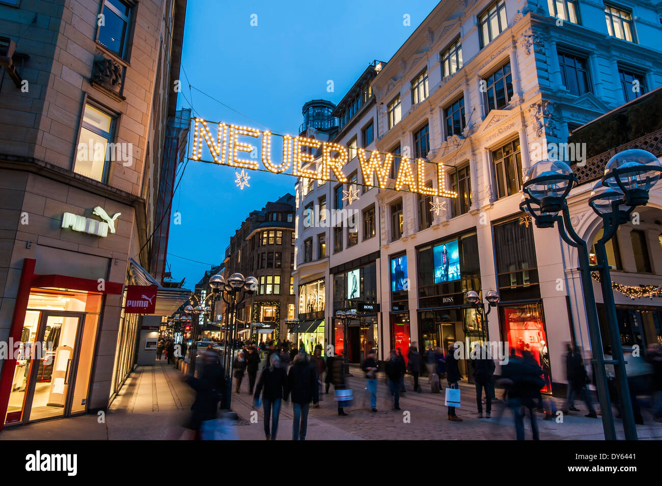 Shopping Street In Hamburg Called Neuer Wall At Christmas