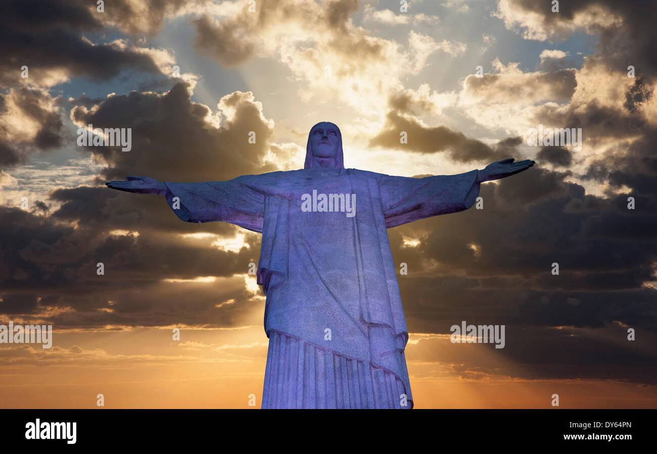 Statue Of Christ The Redeemer At Sunset, Corcovado, Rio De ...