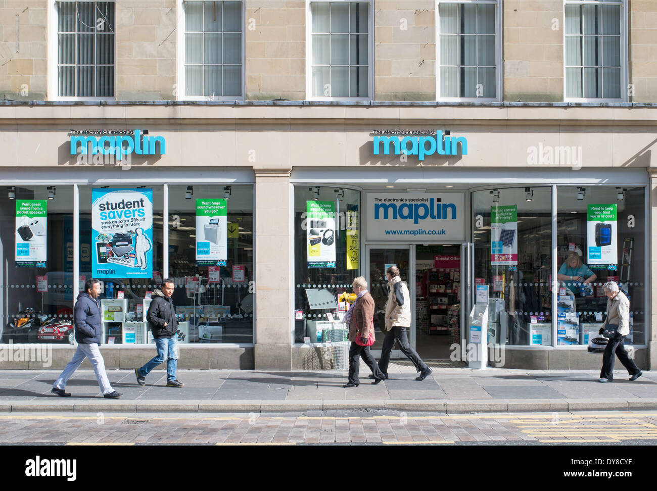 People walking past Maplin shop in Newcastle north east England UK Stock Photo