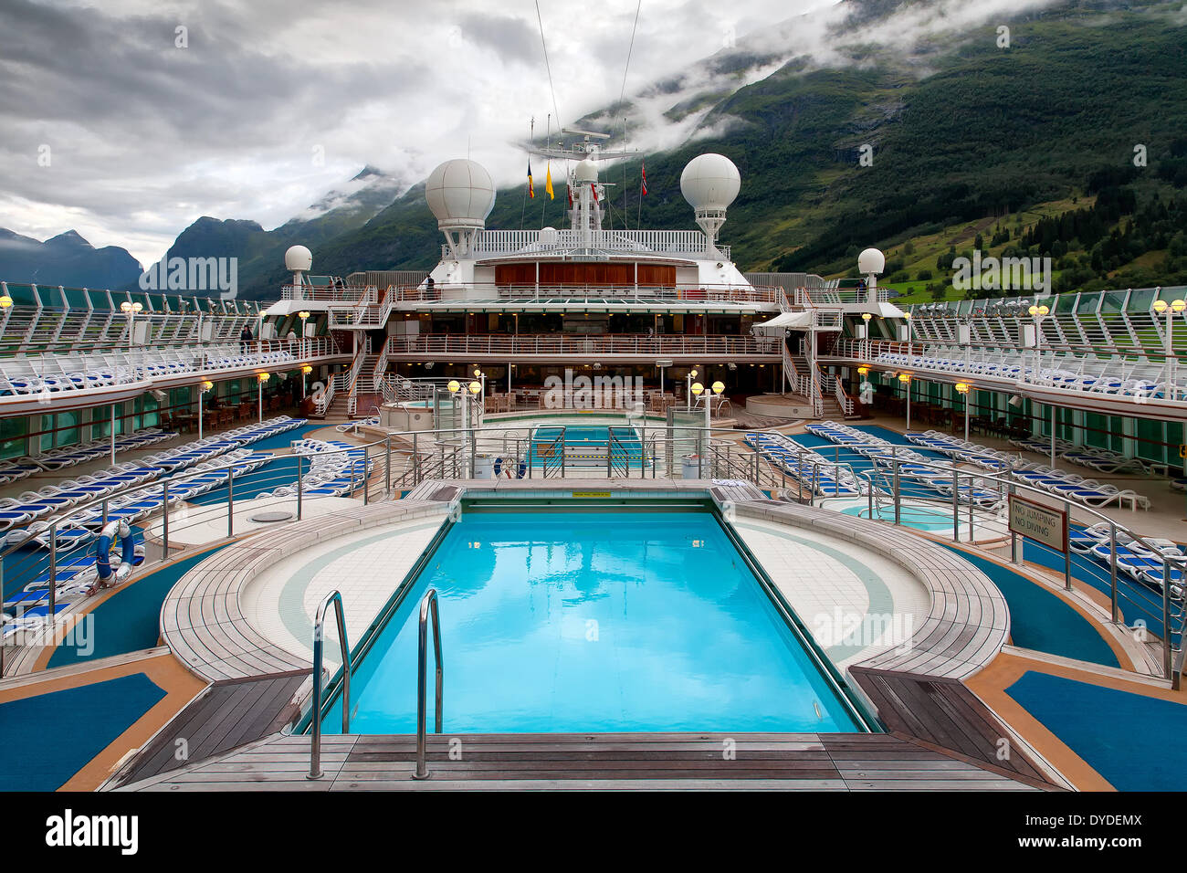 Cruise Ship Swimming Pool And Mountains Stock Photo Royalty Free Image 68523754 Alamy