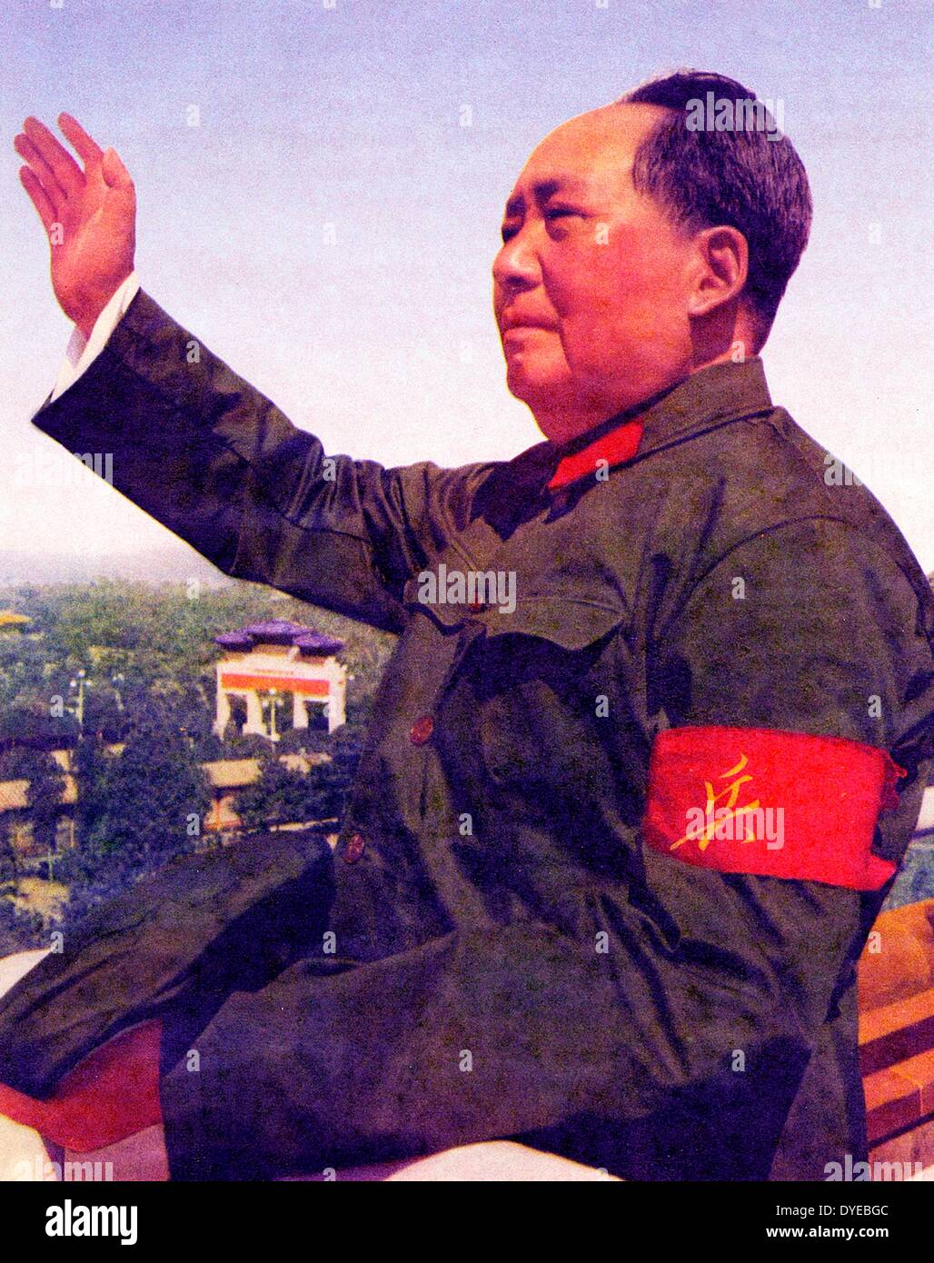 Mao Ze Dung 1893-1976. Chinese Communist Party leader and Chinese leader 1949-1976 reviewing red guards circa 1965 Stock Foto