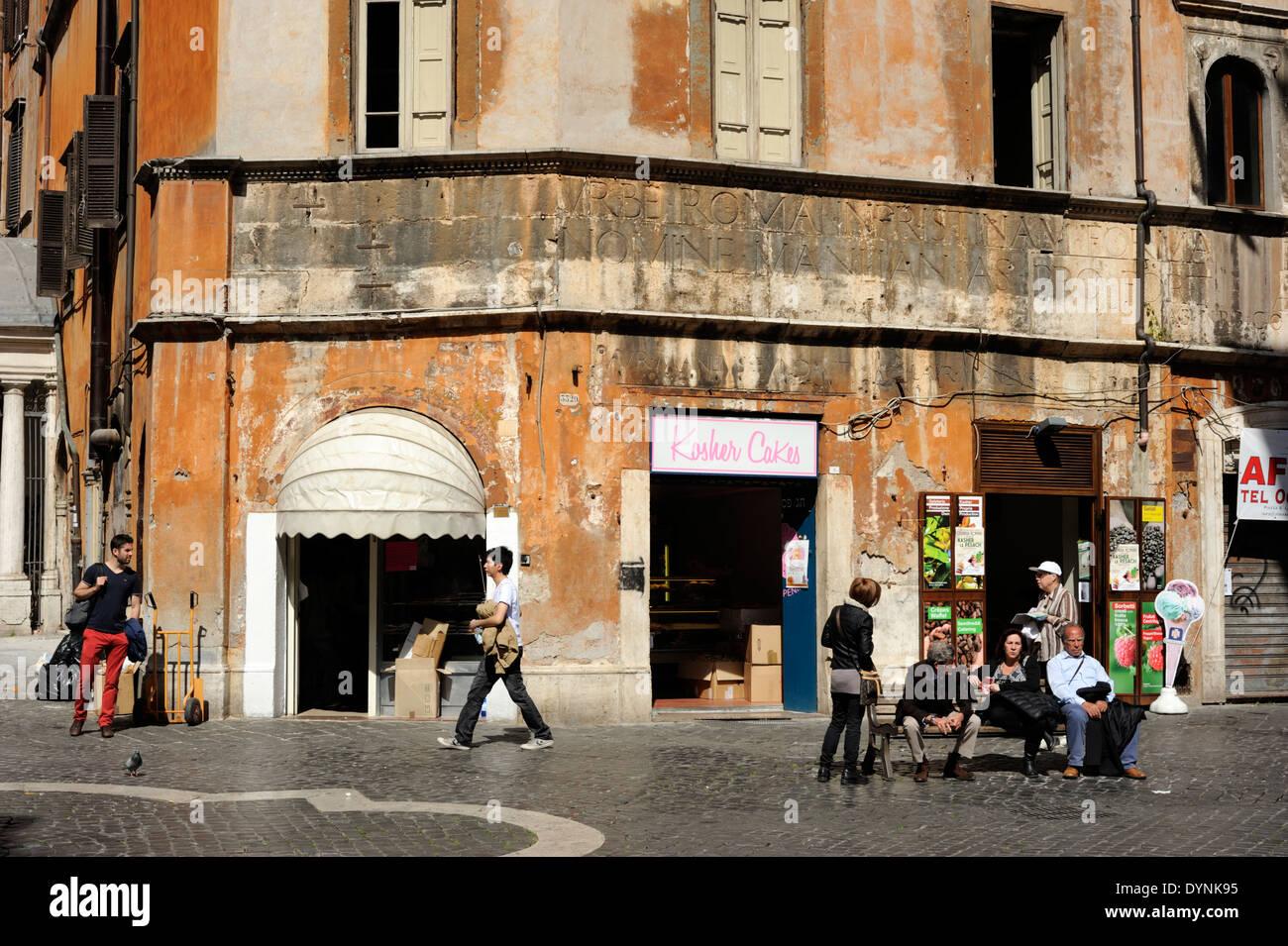 italy rome jewish ghetto via del portico d 39 ottavia casa di stock photo royalty free image. Black Bedroom Furniture Sets. Home Design Ideas