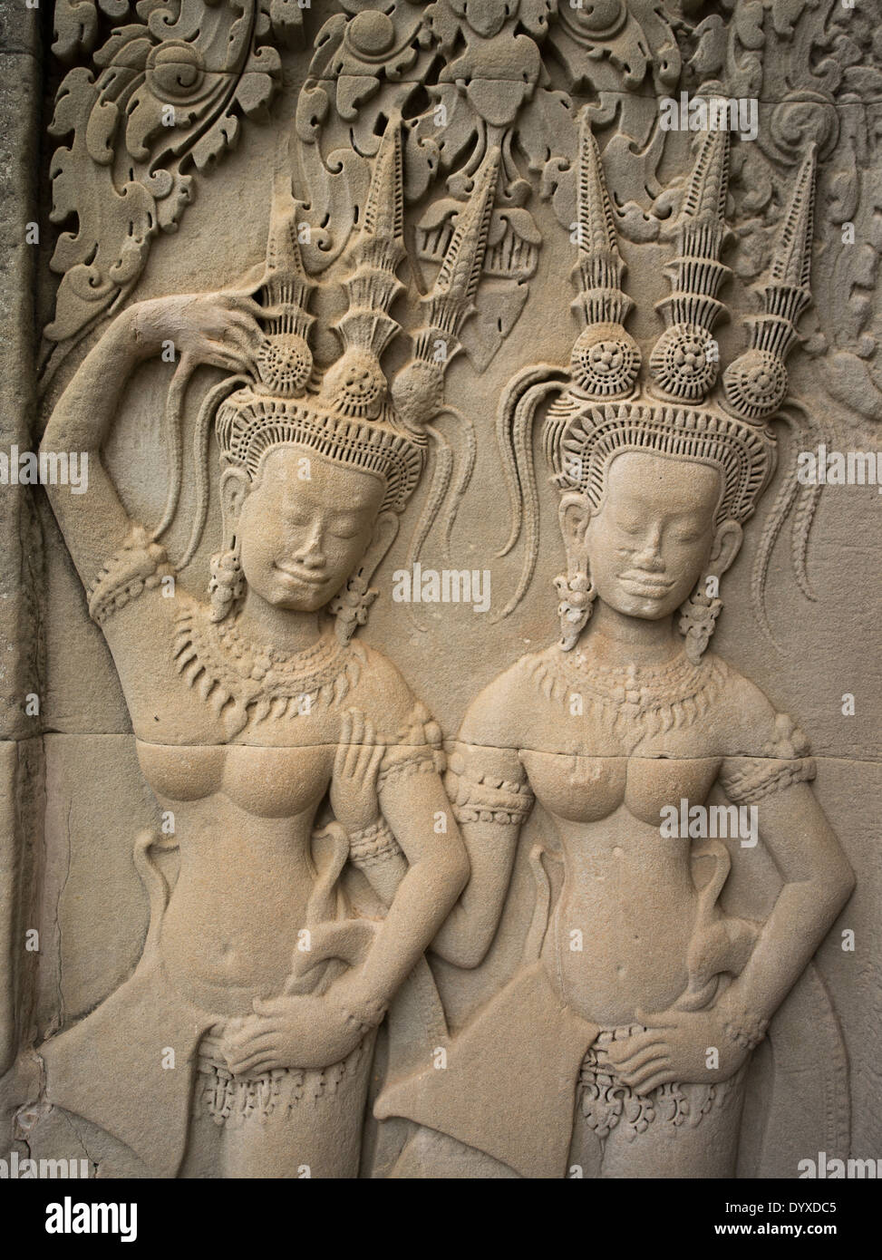 Apsara sandstone bas relief carvings at angkor wat