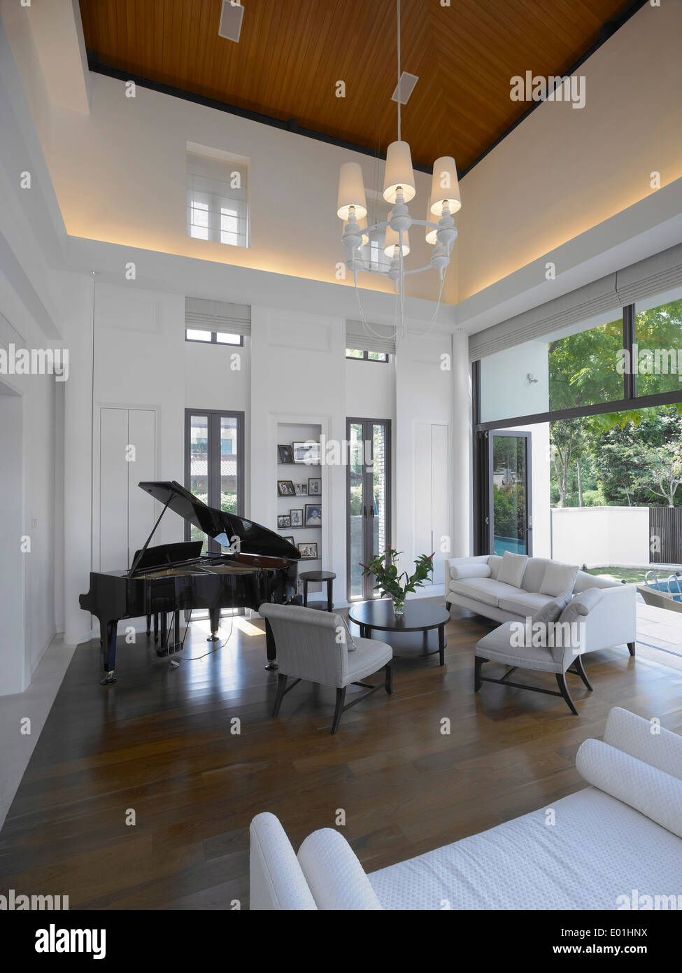 Grand Living Room: Grand Piano In Living Room Of Private Residence, Singapore