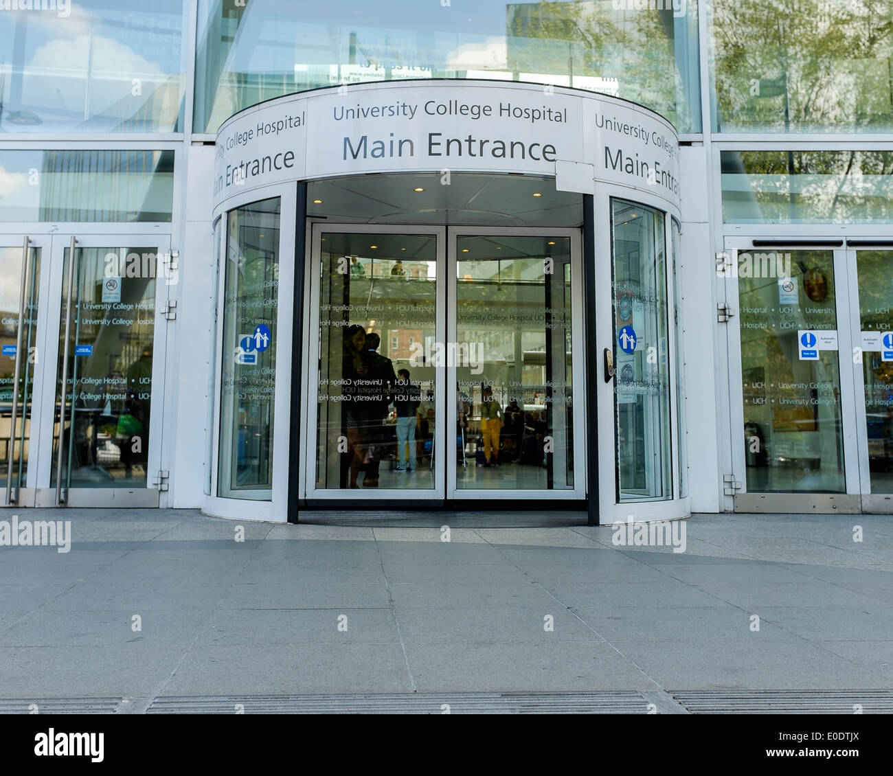 The main entrance to university college hospital on euston for Sliding door main entrance