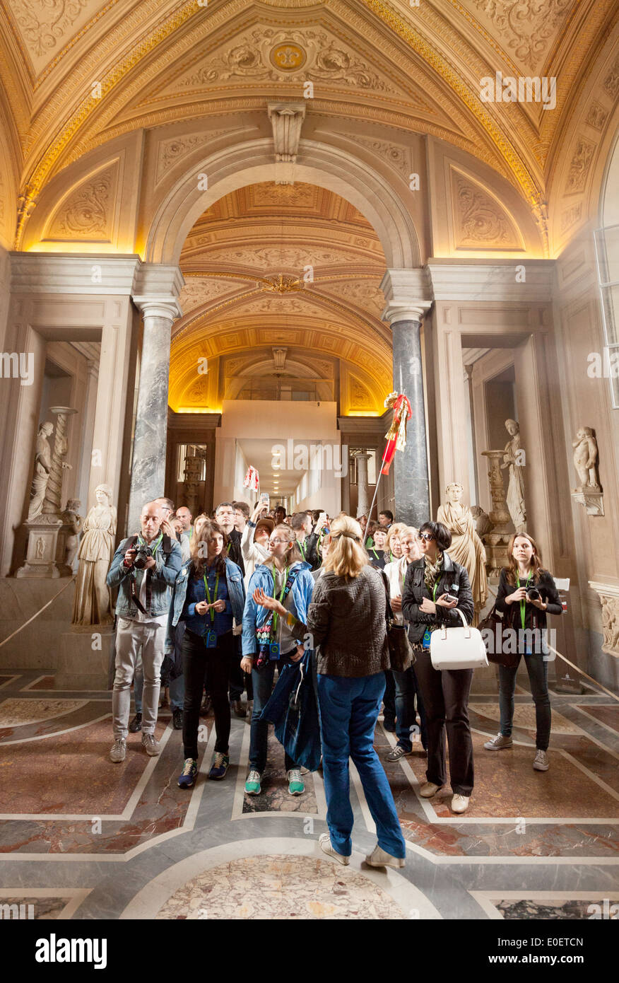 Tour Guide And Tourists On A Guided Tour, Vatican Museum