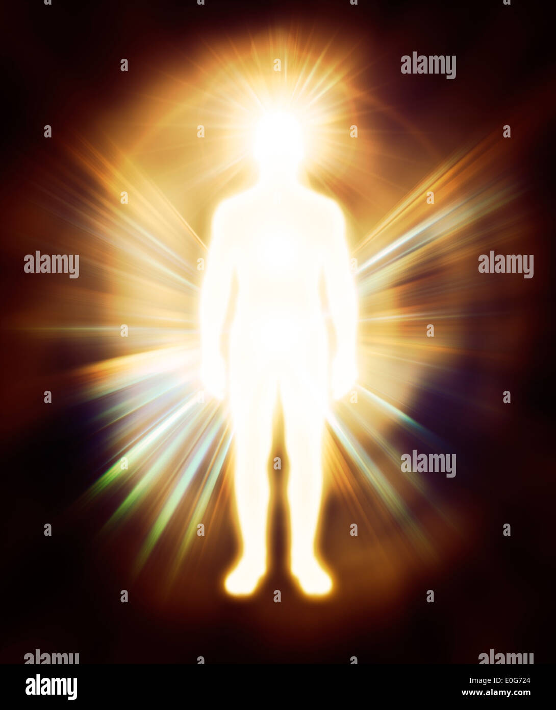 Glowing Human Energy Body Qi Energy Emanations Man As