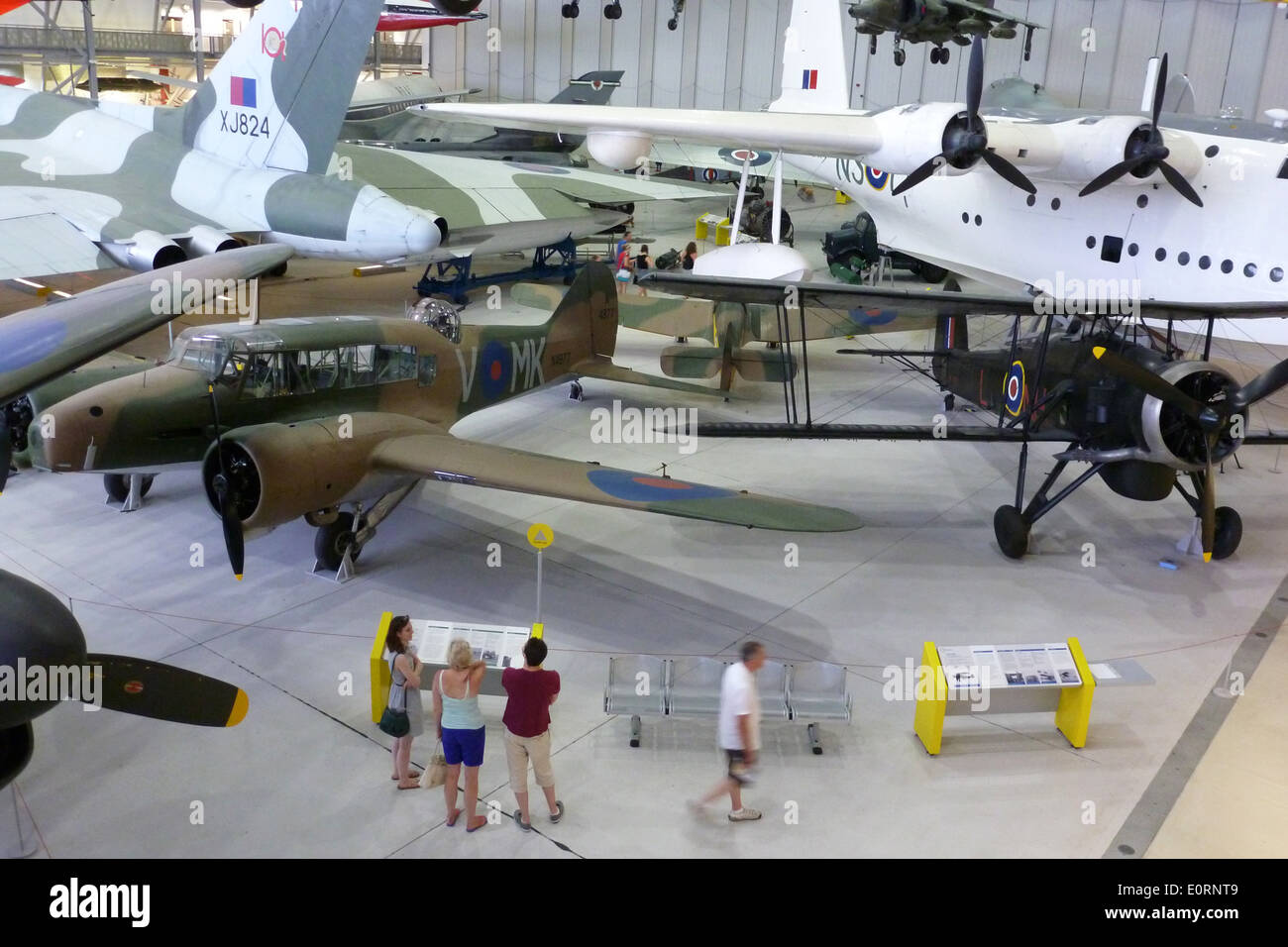 Visitors at the Imperial War Museum, Duxford, Cambridgeshire. Stock Photo