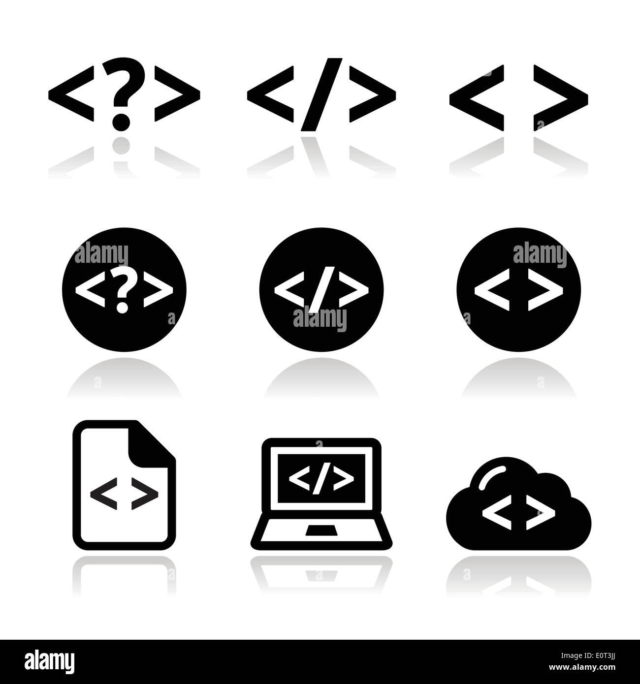 programming code vector icons set stock vector art