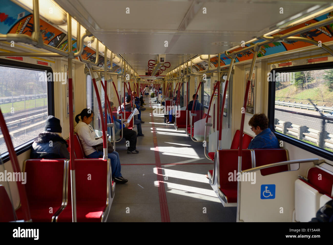 new ttc subway cars with open interior gangways called the toronto stock photo royalty free. Black Bedroom Furniture Sets. Home Design Ideas