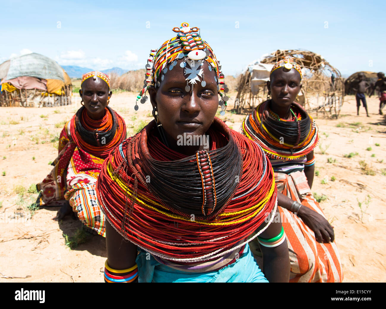 Beautiful Rendille women in their village in northern Kenya. Stock Foto