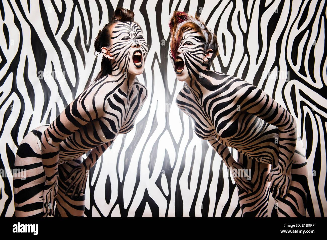 Zebra Striped Body Paint